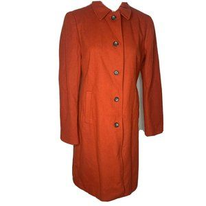 Banana Republic Orange Wool Trench Pea Coat